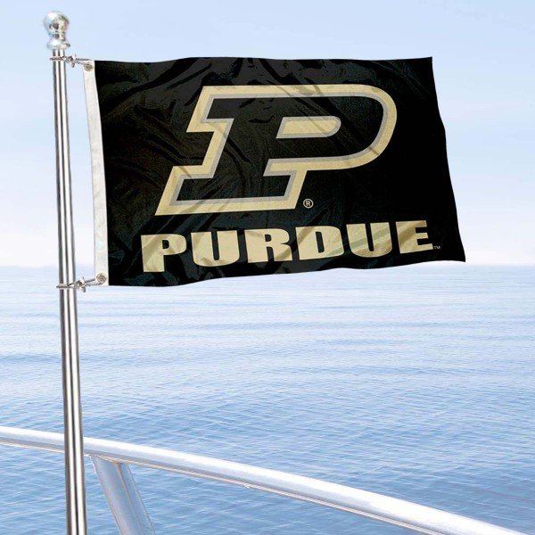 Purdue Boilermakers Boat and Mini Flag is 12x18 inches, polyester, offers quadruple stitched flyends for durability, has two metal grommets, and is double sided. Our mini flags for Purdue University are licensed by the university and NCAA and can be used as a boat flag, motorcycle flag, golf cart flag, or ATV flag.