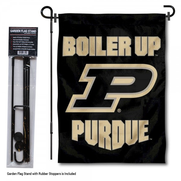 "Purdue Boilermakers Boiler Up Garden Flag and Pole Stand kit includes our 13""x18"" garden banner which is made of 2 ply poly with liner and has screen printed licensed logos. Also, a 40""x17"" inch garden flag stand is included so your Purdue Boilermakers Boiler Up Garden Flag and Pole Stand is ready to be displayed with no tools needed for setup. Fast Overnight Shipping is offered and the flag is Officially Licensed and Approved by the selected team."