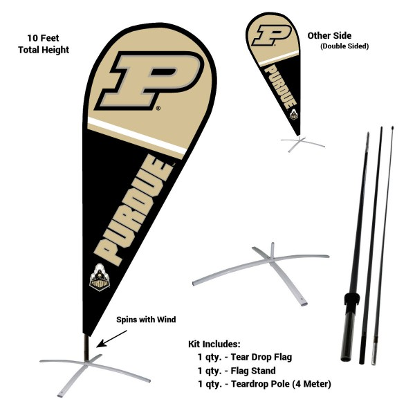 Purdue Boilermakers Feather Flag Kit measures a tall 10' when fully assembled. The kit includes a Feather Flag, 3 Piece Fiberglass Pole, and matching Metal Feather Flag Stand. Our Purdue Boilermakers Feather Flag Kit easily assembles and is NCAA Officially Licensed by the selected school or university.