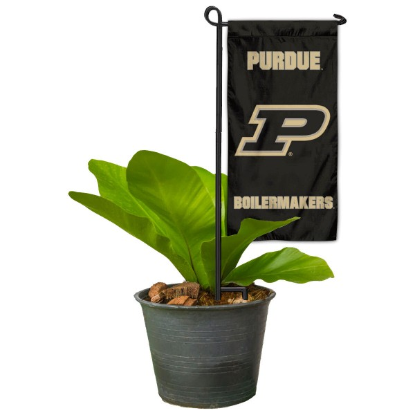 """Purdue Boilermakers Flower Pot Topper Flag kit includes our 4""""x8"""" mini garden banner and 6"""" x 14"""" mini garden banner stand. The mini flag is made of 1-ply polyester, has screen printed logos and the garden stand is made of steel and powder coated black. This kit is NCAA Officially Licensed by the selected college or university."""