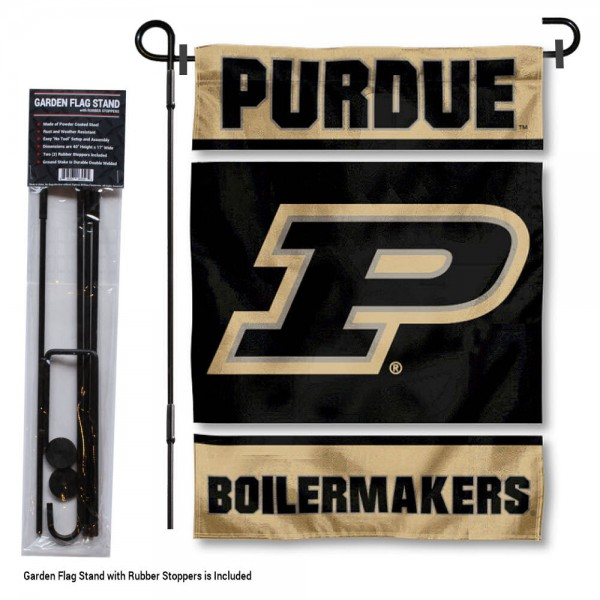 """Purdue Boilermakers Garden Flag and Stand kit includes our 13""""x18"""" garden banner which is made of 2 ply poly with liner and has screen printed licensed logos. Also, a 40""""x17"""" inch garden flag stand is included so your Purdue Boilermakers Garden Flag and Stand is ready to be displayed with no tools needed for setup. Fast Overnight Shipping is offered and the flag is Officially Licensed and Approved by the selected team."""