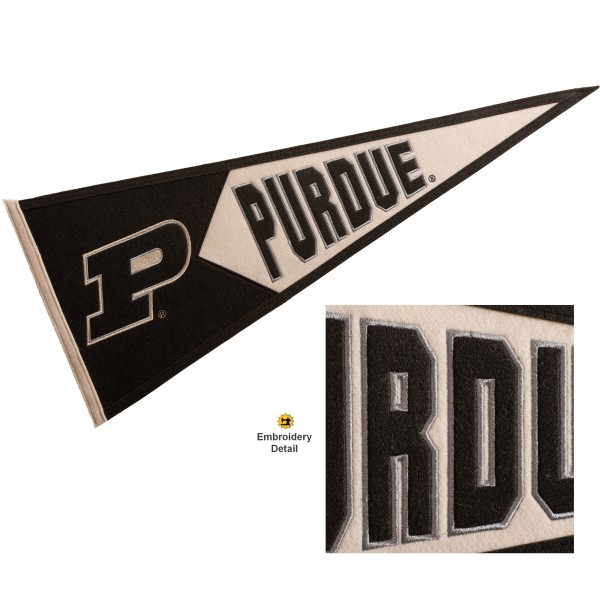 Purdue Boilermakers Genuine Wool Pennant consists of our full size 13x32 inch Winning Streak Sports wool college pennant. The logos, lettering and insignia is quality embroidered and appliqued, feature a alternate logo color header, and has sewn wool perimeter. This Purdue Boilermakers College Pennant Pennant is Officially Licensed and University Approved with Overnight Next Day Shipping.