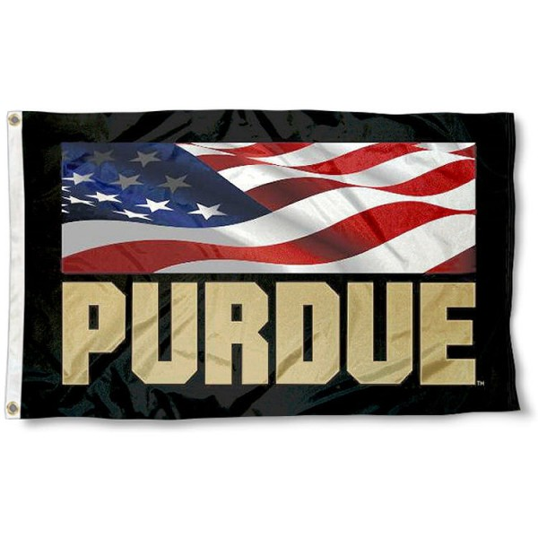 Purdue Boilermakers Patriotic Flag measures 3'x5', is made of 100% poly, has quadruple stitched sewing, two metal grommets, and has double sided Team University logos. Our Purdue USA Flag Waving is officially licensed by the selected university and the NCAA.