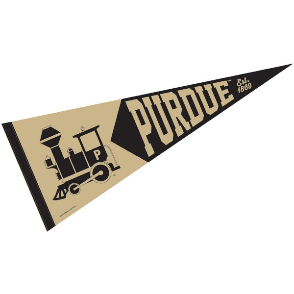 Purdue Boilermakers Retro Throwback Pennant is 12x30 inches, is made of wool and felt, has a pennant stick sleeve, and the Purdue Boilermakers logos are single sided screen printed. Our Purdue Boilermakers Retro Throwback Pennant is licensed by the NCAA and the university.