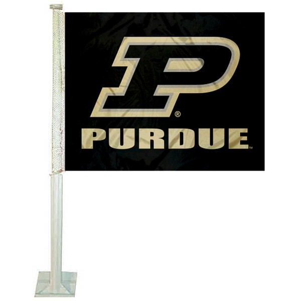 Purdue Boilermakers Slant P Car Flag measures 12x15 inches, is constructed of sturdy 2 ply polyester, and has screen printed school logos which are readable and viewable correctly on both sides. Purdue Boilermakers Slant P Car Flag is officially licensed by the NCAA and selected university.