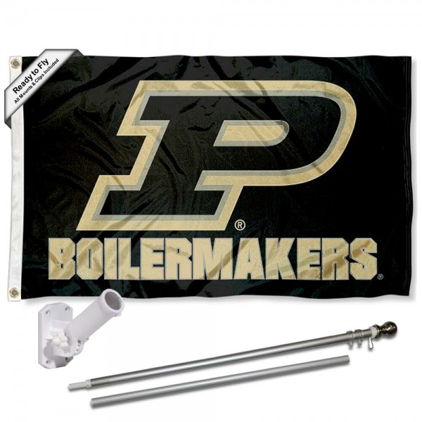 Our Purdue Boilermakers Slant P Flag Pole and Bracket Kit includes the flag as shown and the recommended flagpole and flag bracket. The flag is made of polyester, has quad-stitched flyends, and the NCAA Licensed team logos are double sided screen printed. The flagpole and bracket are made of rust proof aluminum and includes all hardware so this kit is ready to install and fly.