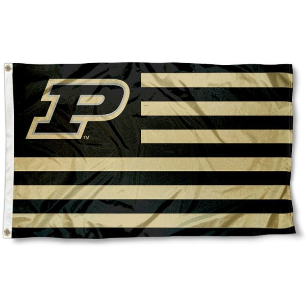 Purdue Boilermakers Stripes Flag measures 3'x5', is made of polyester, offers double stitched flyends for durability, has two metal grommets, and is viewable from both sides with a reverse image on the opposite side. Our Purdue Boilermakers Stripes Flag is officially licensed by the selected school university and the NCAA.