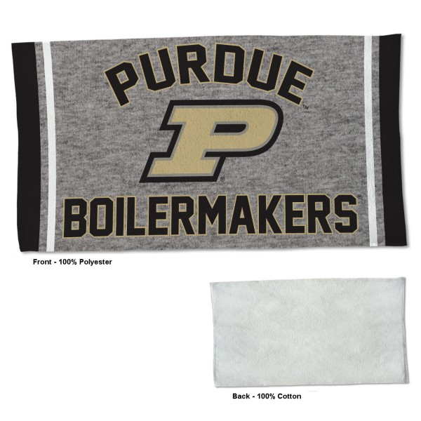 Purdue Boilermakers Workout Exercise Towel measures 22x42 inches, is made of 100% Polyester on the front and 100% Cotton on the back, has double stitched sewing perimeter, and Graphics and Logos, as shown. Our Purdue Boilermakers Workout Exercise Towel is officially licensed by the selected university and the NCAA. Also, machine washable and dryer safe.
