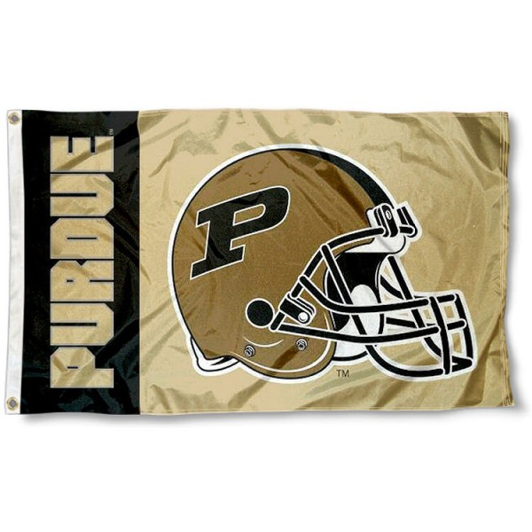 Purdue Football Flag measures 3'x5', is made of 100% poly, has quadruple stitched sewing, two metal grommets, and has double sided Purdue logos. Our Purdue Football Flag is officially licensed by the selected university and the NCAA.