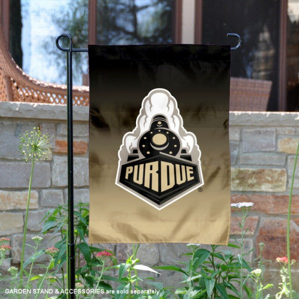 Purdue Gradient Ombre Logo Garden Flag is 13x18 inches in size, is made of thick blockout polyester, screen printed university athletic logos and lettering, and is readable and viewable correctly on both sides. Available same day shipping, our Purdue Gradient Ombre Logo Garden Flag is officially licensed and approved by the university and the NCAA.