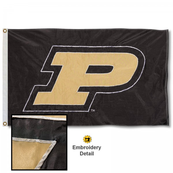 Purdue Nylon Embroidered Flag measures 3'x5', is made of 100% nylon, has quadruple flyends, two metal grommets, and has double sided appliqued and embroidered University logos. These Purdue 3x5 Flags are officially licensed by the selected university and the NCAA.