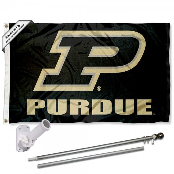Our Purdue P Logo Flag Pole and Bracket Kit includes the flag as shown and the recommended flagpole and flag bracket. The flag is made of polyester, has quad-stitched flyends, and the NCAA Licensed team logos are double sided screen printed. The flagpole and bracket are made of rust proof aluminum and includes all hardware so this kit is ready to install and fly.