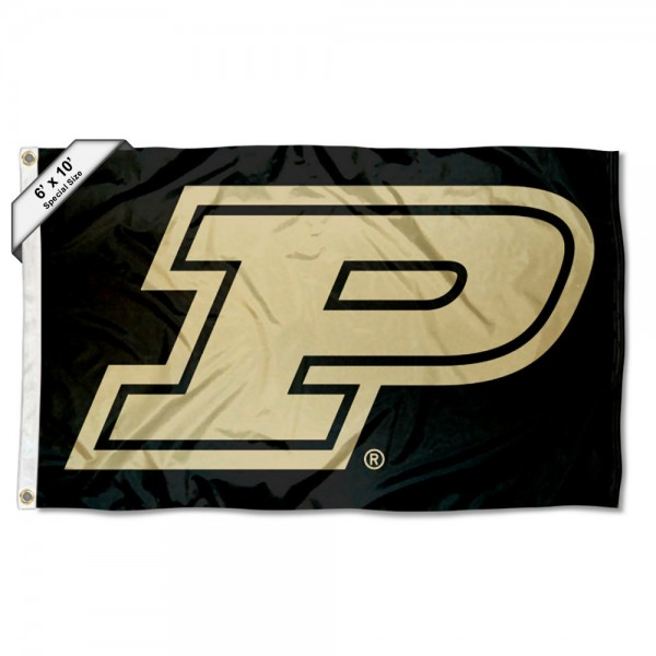 Purdue Slanted P Logo 6'x10' Flag measures 6x10 feet, is made of thick poly, has quadruple-stitched fly ends, and Purdue logos are screen printed into the Purdue Slanted P Logo 6'x10' Flag. This Purdue Slanted P Logo 6'x10' Flag is officially licensed by and the NCAA.