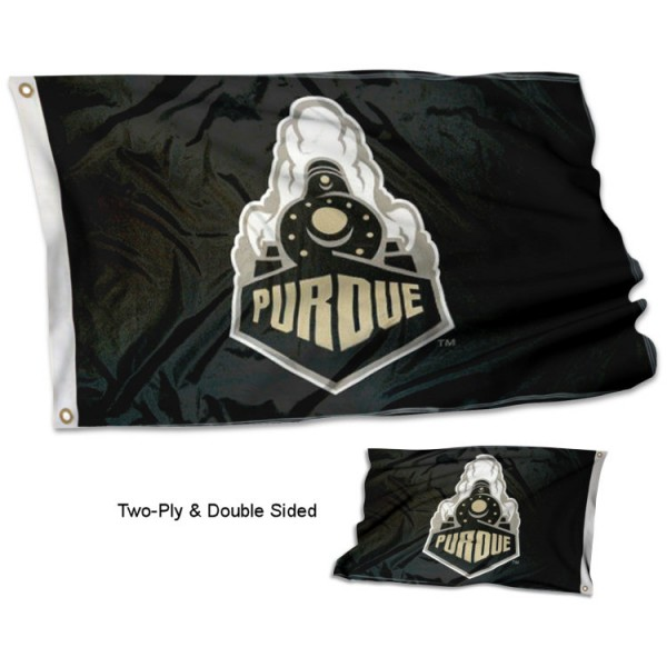 Purdue University Double Sided 3x5 Flag measures 3'x5', is made of 2 layer 100% polyester, has quadruple stitched flyends for durability, and is readable correctly on both sides. Our Purdue University Double Sided 3x5 Flag is officially licensed by the university, school, and the NCAA.