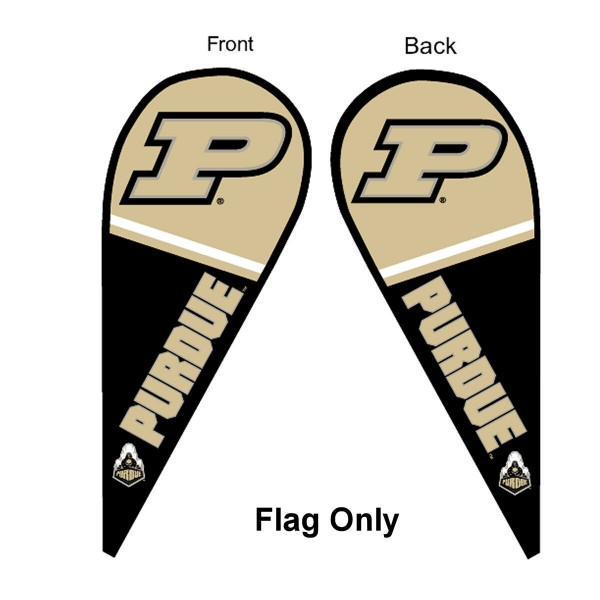 Purdue University Feather Flag is 9 feet by 3 feet and is a tall 10' when fully assembled. The feather flag is made of thick polyester and is readable and viewable on both sides. The screen printed Purdue Boilermakers double sided logos are NCAA Officially Licensed and is Team and University approved.