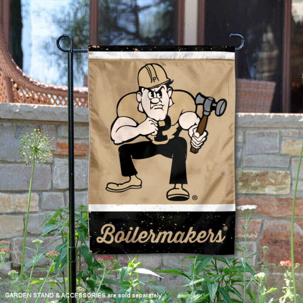 Purdue Vintage Vault Garden Flag is 12x18 inches in size, is made of 1-layer polyester, screen printed logos and lettering, and is viewable on both sides. Available same day shipping, our Purdue Vintage Vault Garden Flag is officially licensed and approved by the university and the NCAA.