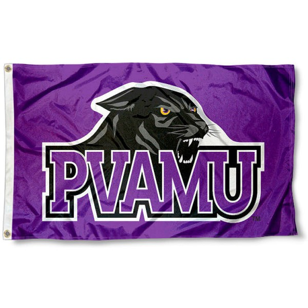 PVAMU New Logo Flag measures 3'x5', is made of 100% poly, has quadruple stitched sewing, two metal grommets, and has double sided Prairie View A&M logos. Our PVAMU New Logo Flag is officially licensed by the selected university and the NCAA.