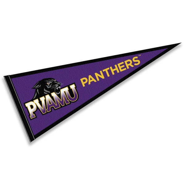 PVAMU Panthers Purple Pennant Flag consists of our full size pennant which measures 12x30 inches, is constructed of felt, single sided imprinted, and offers a pennant sleeve for insertion of a pennant stick, if desired. These PVAMU Panthers Purple Pennant Flag are Officially Licensed by the selected University and the NCAA.