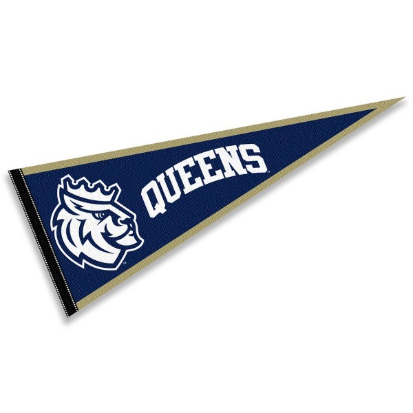 Queens University Royals Pennant consists of our full size sports pennant which measures 12x30 inches, is constructed of felt, is single sided imprinted, and offers a pennant sleeve for insertion of a pennant stick, if desired. This Queens University Royals Pennant Decorations is Officially Licensed by the selected university and the NCAA.
