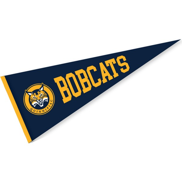 Quinnipiac Bobcats Pennant measures 12x30 inches, is made of wool, and the School logos are printed with raised lettering. Our Quinnipiac Bobcats Pennant is Officially Licensed and Approved by the University or Institution.
