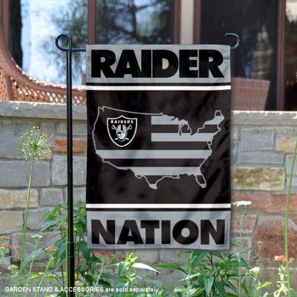 Raiders Nation Double Sided Garden Flag is 12.5x18 inches in size, is made of 2-ply polyester, and has two sided screen printed logos and lettering. Available with Express Next Day Ship, our Raiders Nation Double Sided Garden Flag is NFL Officially Licensed and is double sided.
