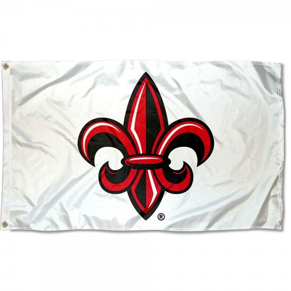Rajun Cajuns Fleur de lis White Flag measures 3x5 feet, is made of 100% polyester, offers quadruple stitched flyends, has two metal grommets, and offers screen printed NCAA team logos and insignias. Our Rajun Cajuns Fleur de lis White Flag is officially licensed by the selected university and NCAA.