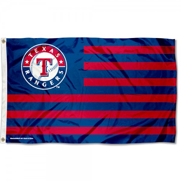 Rangers Nation Flag measures 3x5 feet, is made of polyester, offers quad-stitched flyends, has two metal grommets, and is viewable from both sides with a reverse image on the opposite side. Our Rangers Nation Flag is Genuine MLB Merchandise.