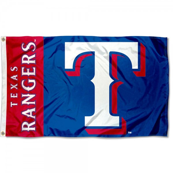 The Rangers Outdoor Flag is four-stitched bordered, double sided, made of poly, 3'x5', and has two grommets. These Texas Rangers Outdoor Flags are MLB Genuine Merchandise.