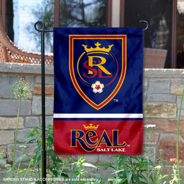 Real Salt Lake Garden Flag is 12.5x18 inches in size, is made of 2-ply polyester, and has two sided screen printed logos and lettering. Available with Express Next Day Shipping, our Real Salt Lake Garden Flag is MLS Genuine Merchandise and is double sided.