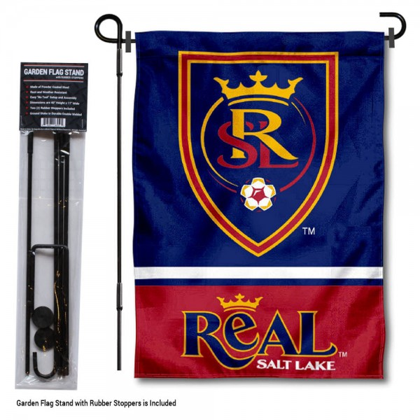 "Real Salt Lake Garden Flag and Flagpole Stand kit includes our 12.5""x18"" garden banner which is made of 2 ply poly with liner and has screen printed licensed logos. Also, a 40""x17"" inch garden flag stand is included so your Real Salt Lake Garden Flag and Flagpole Stand is ready to be displayed with no tools needed for setup. Fast Overnight Shipping is offered and the flag is Officially Licensed and Approved by the selected team."