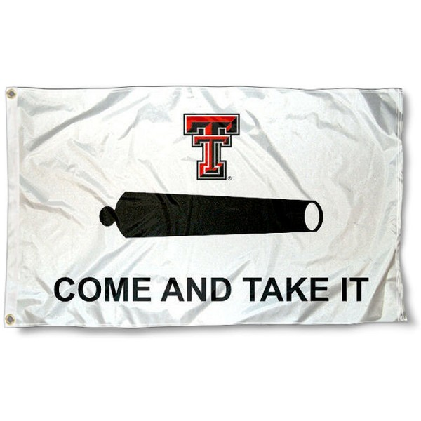 Red Raiders Come and Take It Flag measures 3'x5', is made of 100% poly, has quadruple stitched sewing, two metal grommets, and has double sided Texas Tech University logos. Our Red Raiders Come and Take It Flag is officially licensed by the selected university and the NCAA.