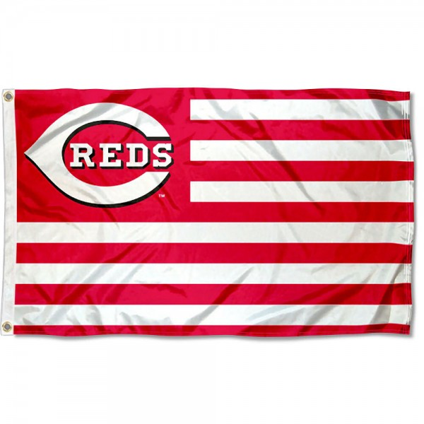 Reds Nation Flag measures 3x5 feet, is made of polyester, offers quad-stitched flyends, has two metal grommets, and is viewable from both sides with a reverse image on the opposite side. Our Reds Nation Flag is Genuine MLB Merchandise.