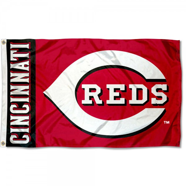 The Reds Outdoor Flag is four-stitched bordered, double sided, made of poly, 3'x5', and has two grommets. These Cincinnati Reds Outdoor Flags are MLB Genuine Merchandise.