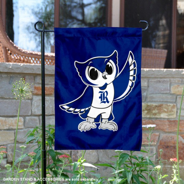 Rice Owls Baby Sammy Garden Flag is 13x18 inches in size, is made of 2-layer polyester, screen printed university athletic logos and lettering, and is readable and viewable correctly on both sides. Available same day shipping, our Rice Owls Baby Sammy Garden Flag is officially licensed and approved by the university and the NCAA.