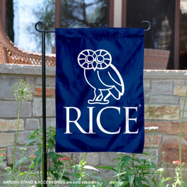 Rice Owls Crest Owl Garden Flag is 13x18 inches in size, is made of 2-layer polyester, screen printed university athletic logos and lettering, and is readable and viewable correctly on both sides. Available same day shipping, our Rice Owls Crest Owl Garden Flag is officially licensed and approved by the university and the NCAA.