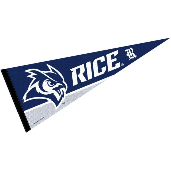 Rice Owls Decorations consists of our full size pennant which measures 12x30 inches, is constructed of felt, is single sided imprinted, and offers a pennant sleeve for insertion of a pennant stick, if desired. This Rice Owls Decorations is officially licensed by the selected university and the NCAA