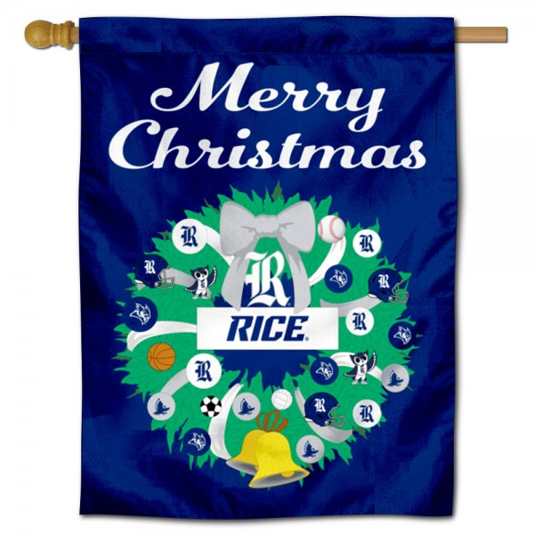 Rice Owls Happy Holidays Banner Flag measures 30x40 inches, is made of poly, has a top hanging sleeve, and offers dye sublimated Rice Owls logos. This Decorative Rice Owls Happy Holidays Banner Flag is officially licensed by the NCAA.