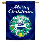 Rice Owls Happy Holidays Banner Flag