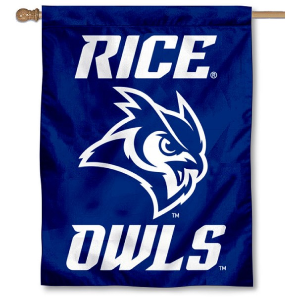 Rice Owls New Owl Logo Double Sided House Flag is a vertical house flag which measures 30x40 inches, is made of 2 ply 100% polyester, offers screen printed NCAA team insignias, and has a top pole sleeve to hang vertically. Our Rice Owls New Owl Logo Double Sided House Flag is officially licensed by the selected university and the NCAA.