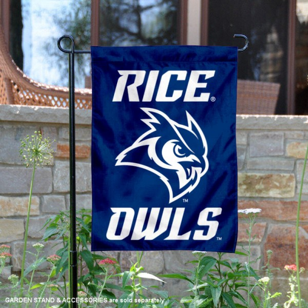 Rice Owls New Owl Logo Garden Flag is 13x18 inches in size, is made of 2-layer polyester, screen printed university athletic logos and lettering. Available with Same Day Express Shipping, our Rice Owls New Owl Logo Garden Flag is officially licensed and approved by the university and the NCAA.
