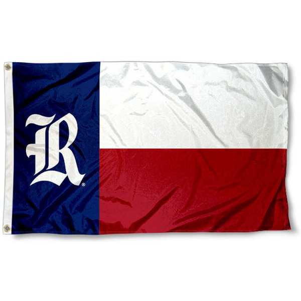 Rice Owls TX State Flag measures 3x5 feet, is made of 100% polyester, offers quadruple stitched flyends, has two metal grommets, and offers screen printed NCAA team logos and insignias. Our Rice Owls TX State Flag is officially licensed by the selected university and NCAA.