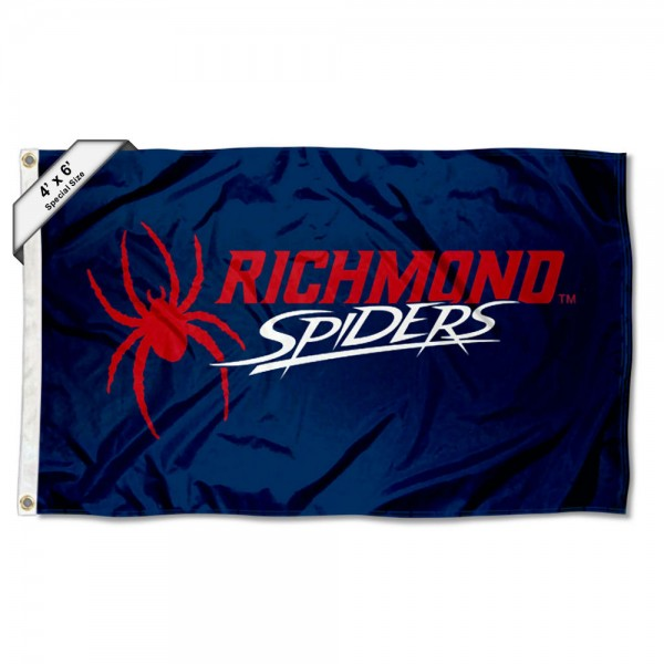 Richmond Spiders Large 4x6 Flag measures 4x6 feet, is made thick woven polyester, has quadruple stitched flyends, two metal grommets, and offers screen printed NCAA Richmond Spiders Large athletic logos and insignias. Our Richmond Spiders Large 4x6 Flag is officially licensed by Richmond Spiders and the NCAA.