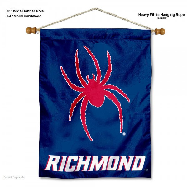 """Richmond Spiders Wall Banner is constructed of polyester material, measures a large 30""""x40"""", offers screen printed athletic logos, and includes a sturdy 3/4"""" diameter and 36"""" wide banner pole and hanging cord. Our Richmond Spiders Wall Banner is Officially Licensed by the selected college and NCAA."""
