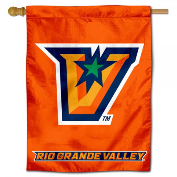 "Rio Grande Valley Banner Flag is constructed of polyester material, is a vertical house flag, measures 30""x40"", offers screen printed athletic insignias, and has a top pole sleeve to hang vertically. Our Rio Grande Valley Banner Flag is Officially Licensed by University of Texas Rio Grande Valley and NCAA."