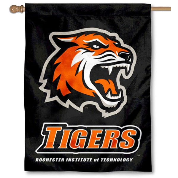 RIT Tigers Black House Flag is a vertical house flag which measures 30x40 inches, is made of 2 ply 100% polyester, offers screen printed NCAA team insignias, and has a top pole sleeve to hang vertically. Our RIT Tigers Black House Flag is officially licensed by the selected university and the NCAA.
