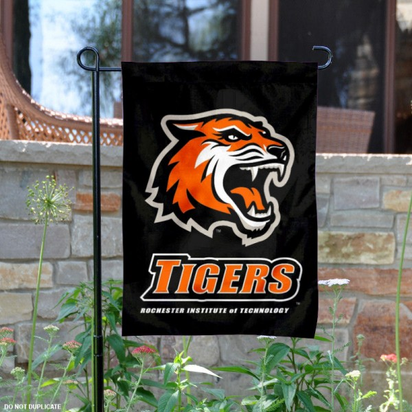RIT Tigers Garden Flag is 13x18 inches in size, is made of 2-layer polyester, screen printed university athletic logos and lettering. Available with Same Day Express Shipping, our RIT Tigers Garden Flag is officially licensed and approved by the university and the NCAA.