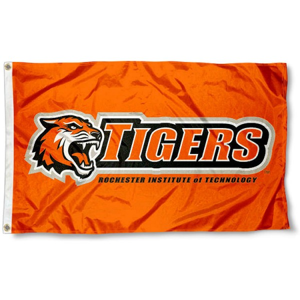 RIT Tigers Orange Flag measures 3x5 feet, is made of 100% polyester, offers quadruple stitched flyends, has two metal grommets, and offers screen printed NCAA team logos and insignias. Our RIT Tigers Orange Flag is officially licensed by the selected university and NCAA.