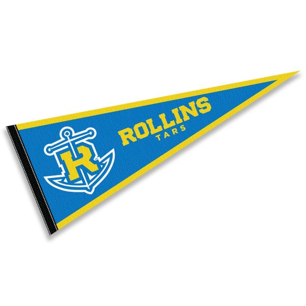 Rollins College Tars Pennant consists of our full size sports pennant which measures 12x30 inches, is constructed of felt, is single sided imprinted, and offers a pennant sleeve for insertion of a pennant stick, if desired. This Rollins College Tars Pennant Decorations is Officially Licensed by the selected university and the NCAA.