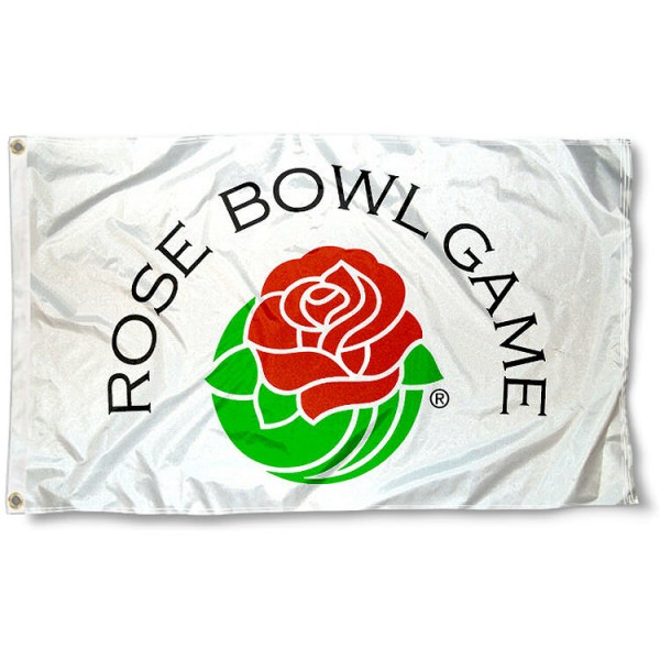 Rose Bowl Flag measures 3'x5', is made of 100% poly, has quadruple stitched sewing, two metal grommets, and has double sided logos. Our Rose Bowl Flag is officially licensed by the NCAA.