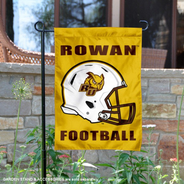 Rowan University Football Helmet Garden Banner is 13x18 inches in size, is made of 2-layer polyester, screen printed Rowan University athletic logos and lettering. Available with Same Day Express Shipping, Our Rowan University Football Helmet Garden Banner is officially licensed and approved by Rowan University and the NCAA.